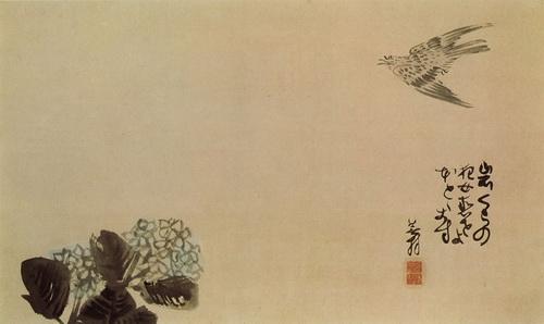 yosa buson Coucou au-dessus d'un hortensia